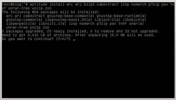 Instalación de paquetes adicionales para descomprimir archivos