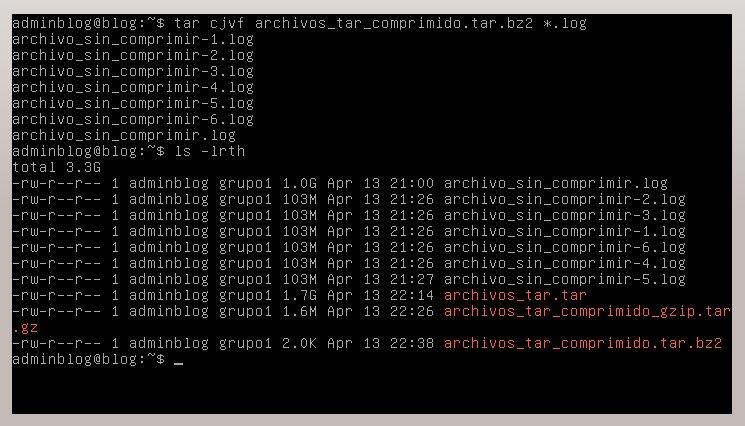 Comprimir archivos en Linux