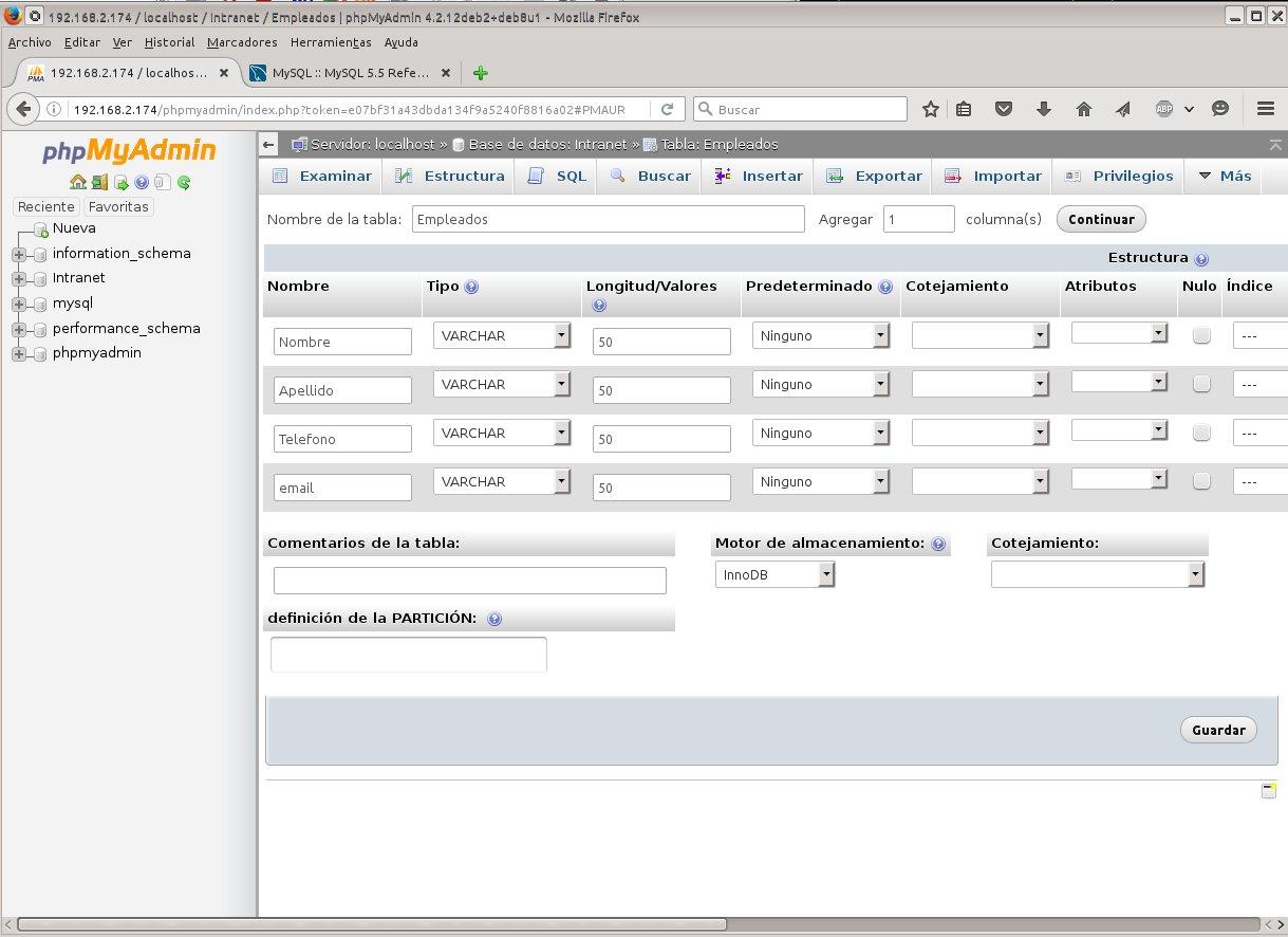 Bases MySQL con phpMyAdmin