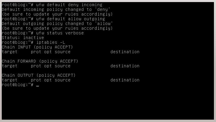 configuración por defecto con ufw