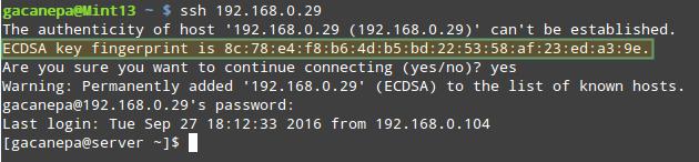 Iniciando una conexión mediante SSH por primera vez