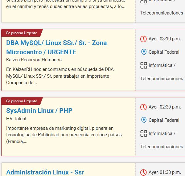 Ofertas laborales relacionadas con Linux