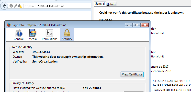 Utilizar un certificado autofirmado en phpmyadmin con HTTPS