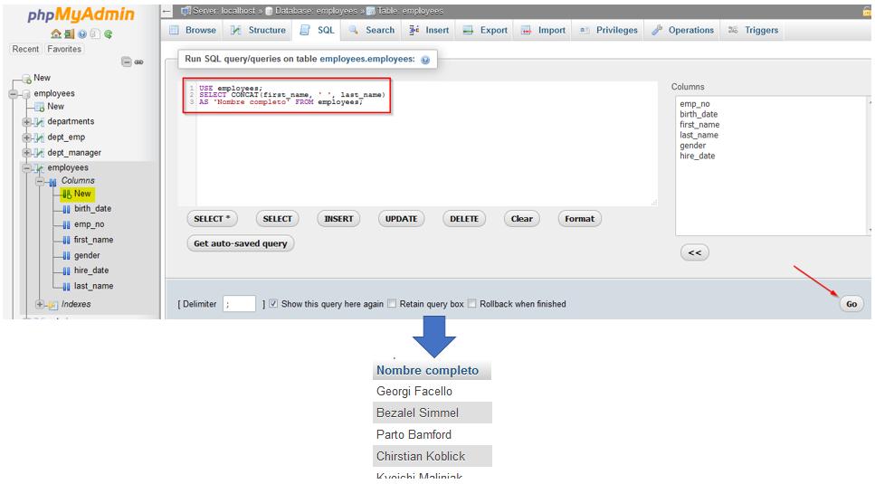 Usar phpMyAdmin para efectuar una consulta a la base de datos