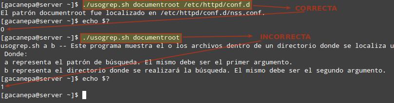 Uso de shell scripts: agregar instrucciones de uso