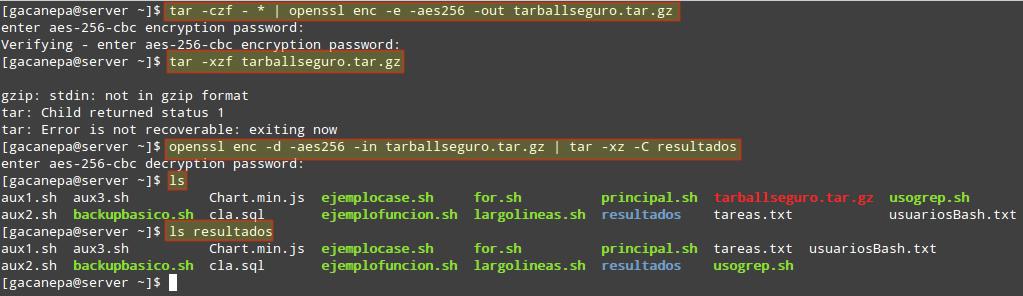 Encriptar y desencriptar tarballs con OpenSSL