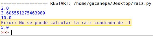 Uso de try y except en Python