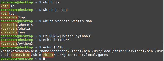 Uso de which para encontrar la ruta completa correspondiente a la ubicación del binario