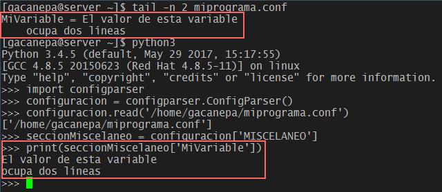 El módulo configparser permite utilizar variables cuyos valores ocupan más de una línea