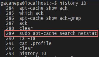 Ver los últimos 10 registros del historial de comandos en Linux