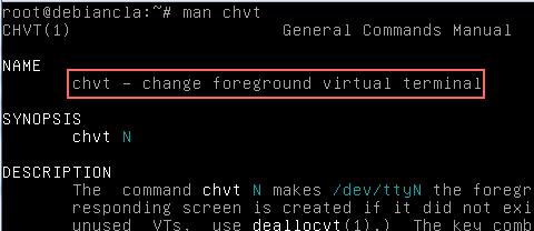 Utilizar chvt para cambiar de una terminal a otra en el modo texto