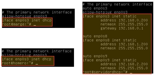 Configuración de las interfaces de red para los clientes y el servidor DHCP en Linux