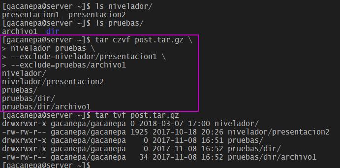 Excluir archivos con tar