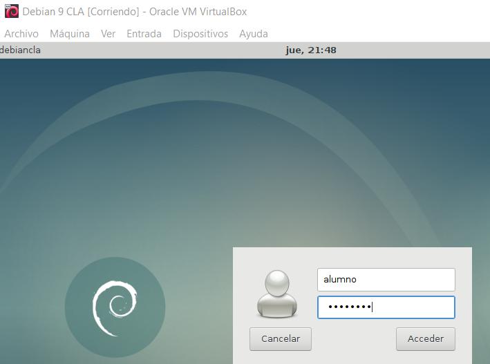 Debian 9 Stretch utilizando XFCE como entorno de escritorio luego de instalar el servidor X