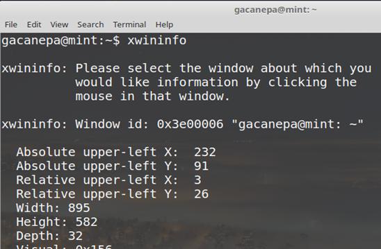 Herramientas de la GUI: xwininfo