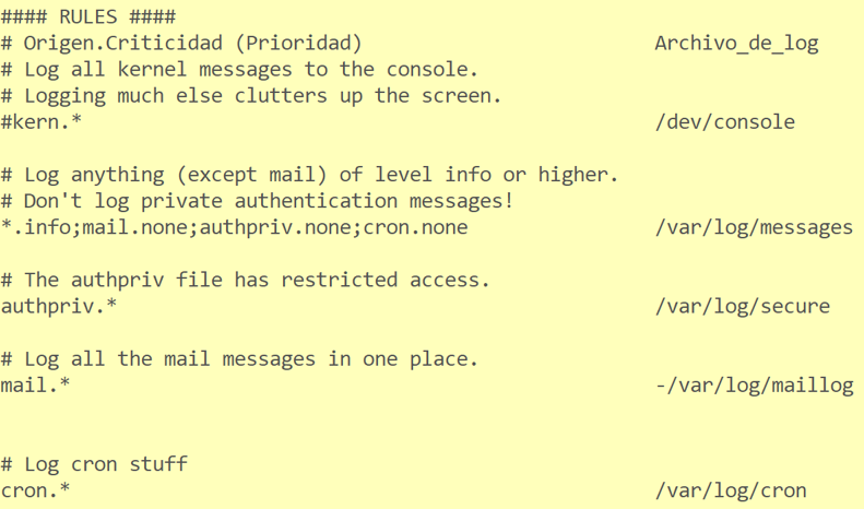 La sección de reglas en el archivo rsyslog.conf