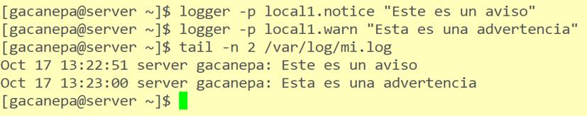 Envío de mensajes a destinos definidos en el archivo rsyslog.conf
