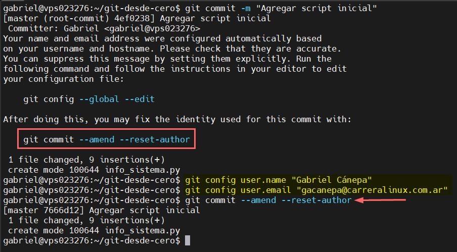 Hacer un commit y configurar usuario para Git